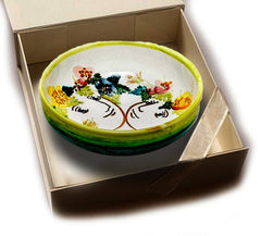Hand-Painted Bowl 'Faces & Flowers'