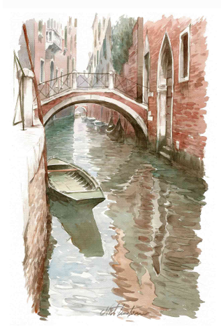 Tenderini 'Views of Venice: Rio with Boat & Bridge' Poster (33 x 50 cm)