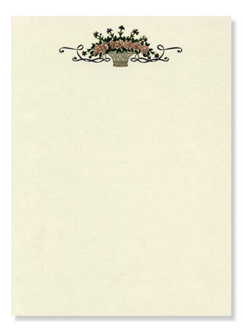 Basket of Roses Stationery 10 sheets & 10 envelopes