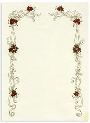 'Red Flowers Frame' Stationery 10 sheets & 10 envelopes