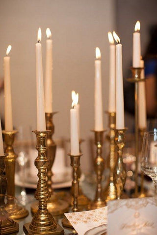 eclectic gold candlestick collection