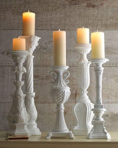 eclectic white candlesticks