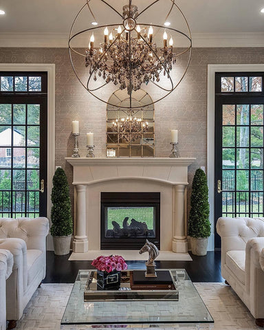 family dining room chandelier ambient lighting