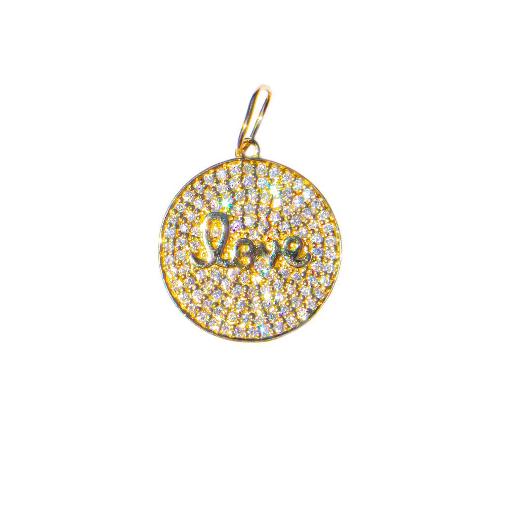 Pave Diamond Love Medallion Charm