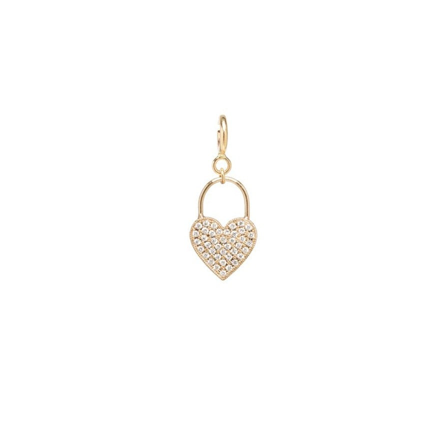 Pave Diamond Heart Padlock Pave Charm Yellow Gold