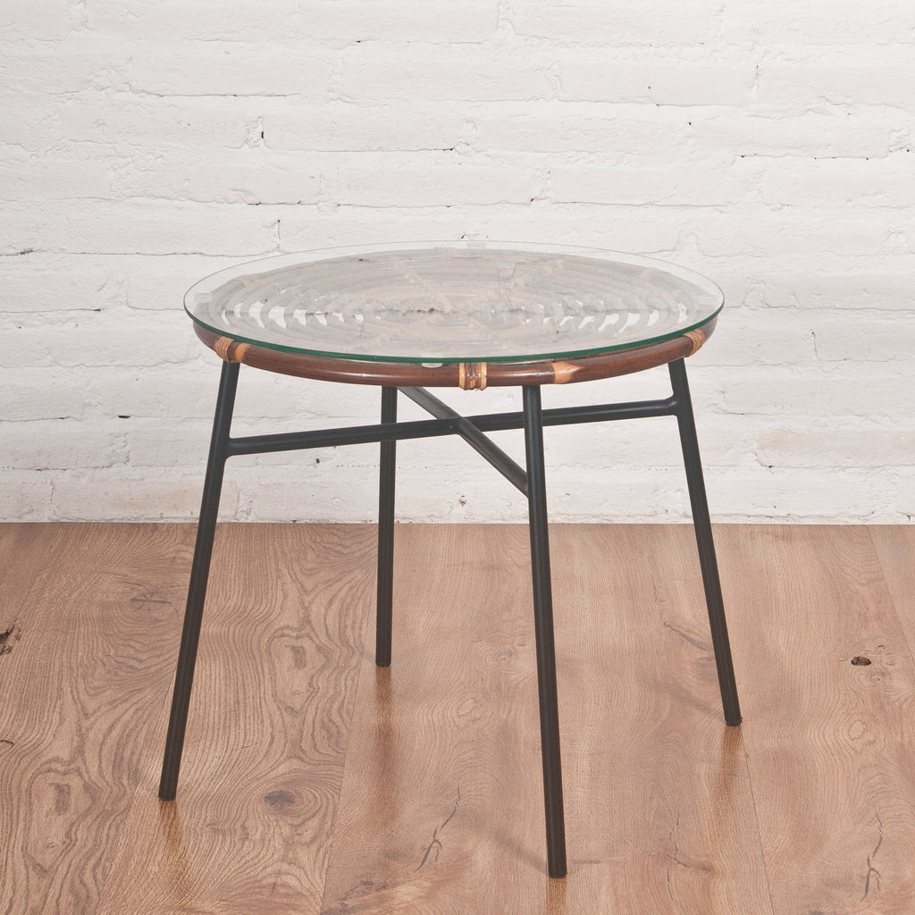 rattan side table with metal legs