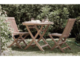 Java round 110cm folding teak table set with 4 folding chair
