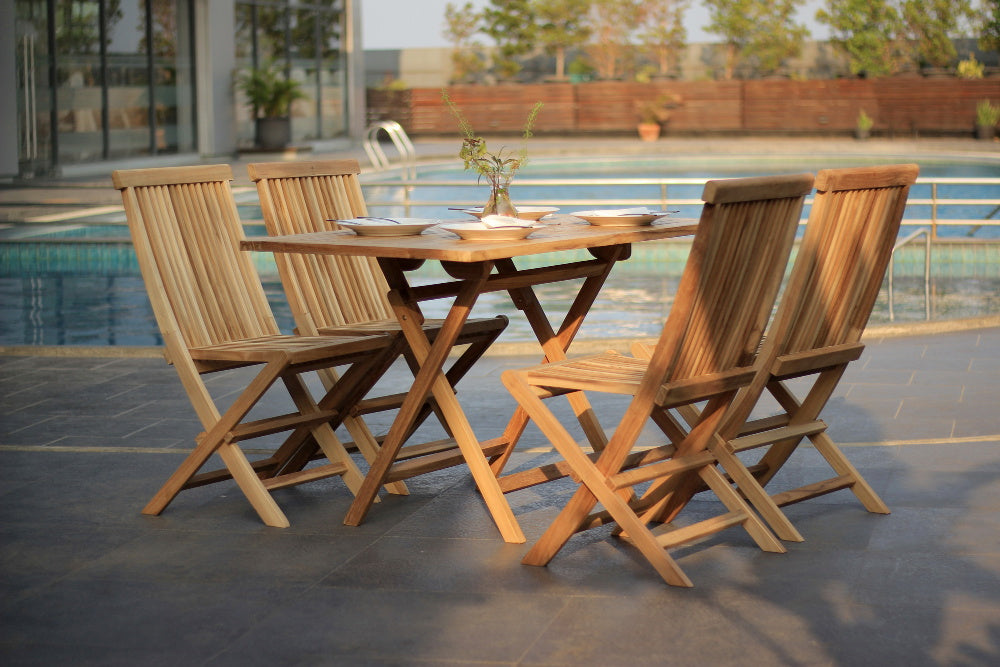 Java rectangular folding teak 120x70cm table set with 4 folding chair