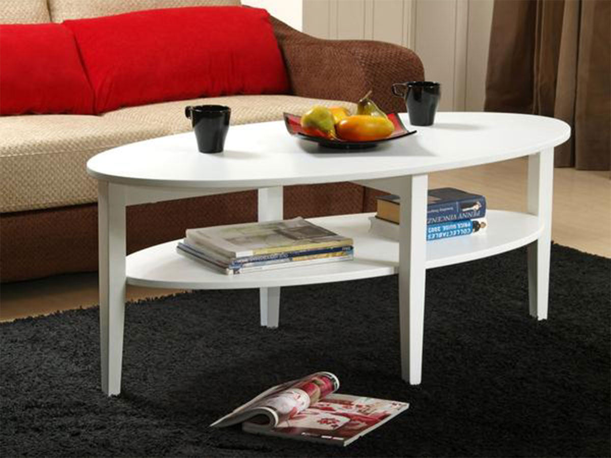 Oval Coffee Table With Shelf.Queen White Oval Coffee Table With Shelf