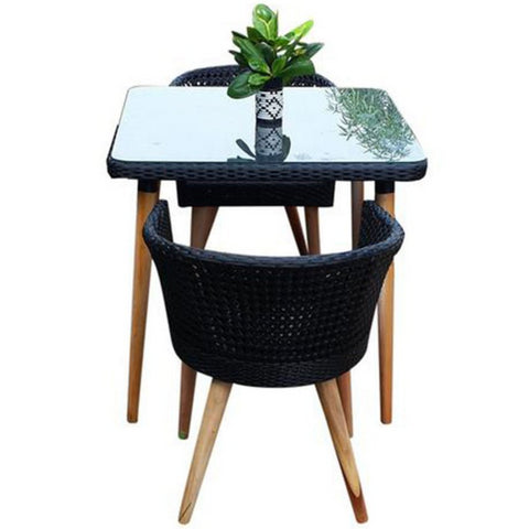 Allegra Small Wicker Balcony Dining Set With Teak Legs, Black