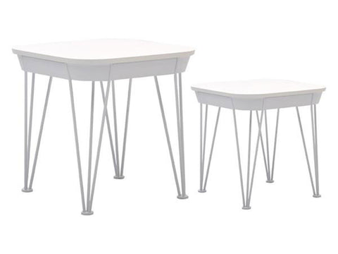 White nesting side coffee tables scandinavian style with hairpin legs