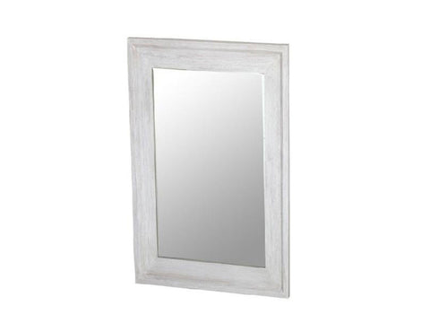 mirror with wooden frame, white wash