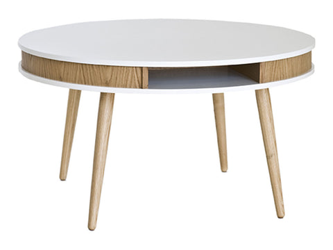 Hugo Affordable Designer Round Coffee Table, oak/white