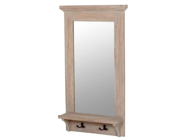 wooden framed mirror with shelf and hooks