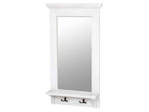 mirror with wooden frame, shelf and hooks, white singapore