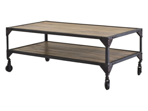 BOMBAY Industrial Style Recycled Wooden Rectangular Coffee Table