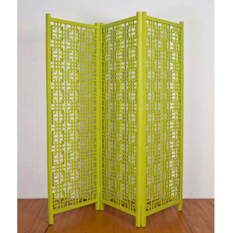 Geometric timber screen room divider, lime