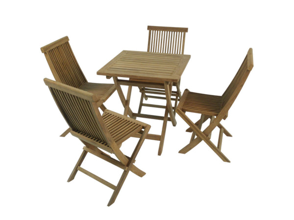Java square folding teak 70x70cm table set with 4 folding chair