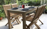 Vito rectangular teak wood outdoor dining table 120x80cm with 4 folding chair