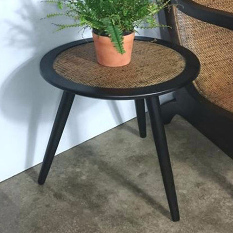 pencil leg Teak side table with rattan top singapore