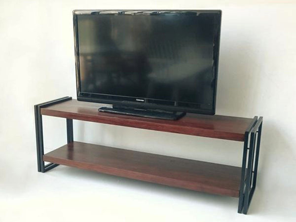 JAVA TV console shelves in wrought iron and teak