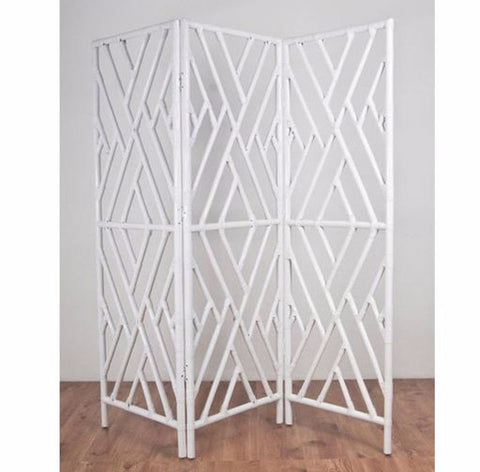 Chippendale rattan screen room divider, white