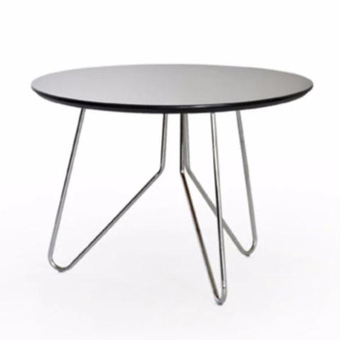 Moon black side table with metal hairpin legs