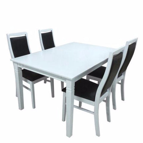 white dining table with black PU chairs