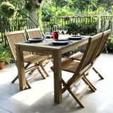 Vito rectangular teak wood outdoor dining table 150x80cm with 4 folding chair