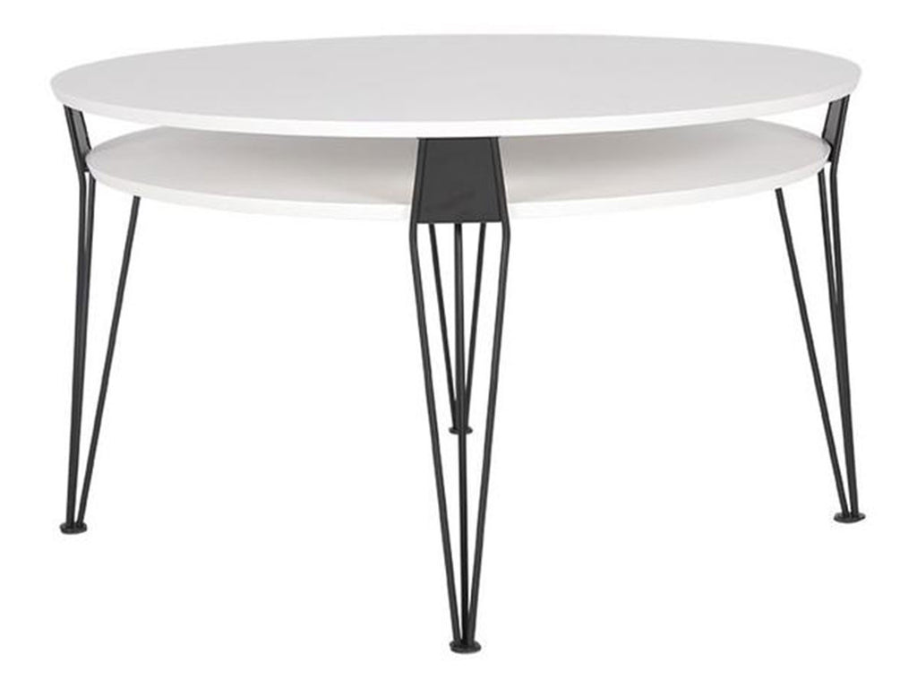 white round designer coffee table with black metal hairpin legs