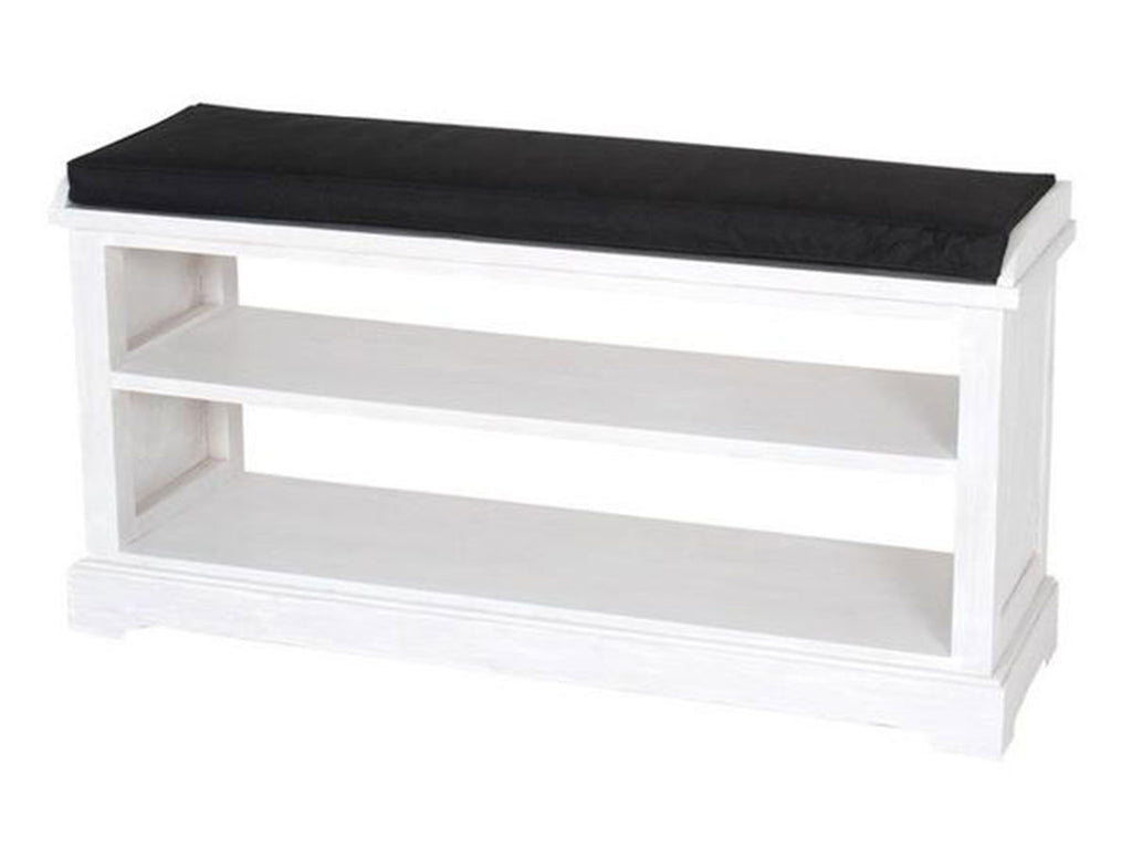 White wooden bench with shoe rack shelves bench singapore
