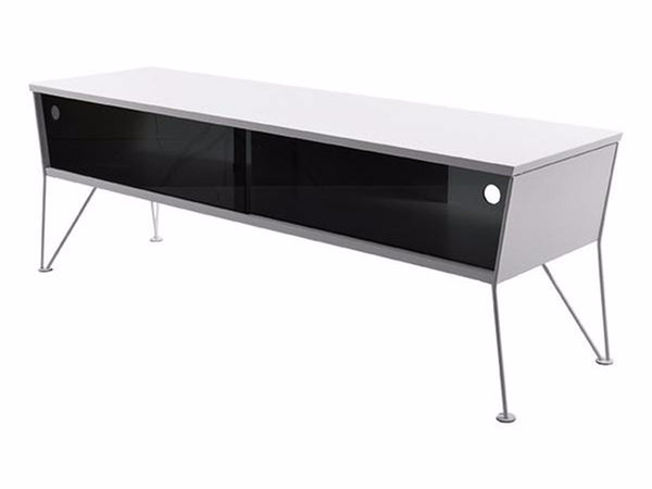 white TV console with glass sliding doors and white metal hairpin legs