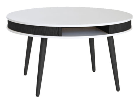 Hugo Round Contemporary Scandinavian inspired Coffee Table, black/white