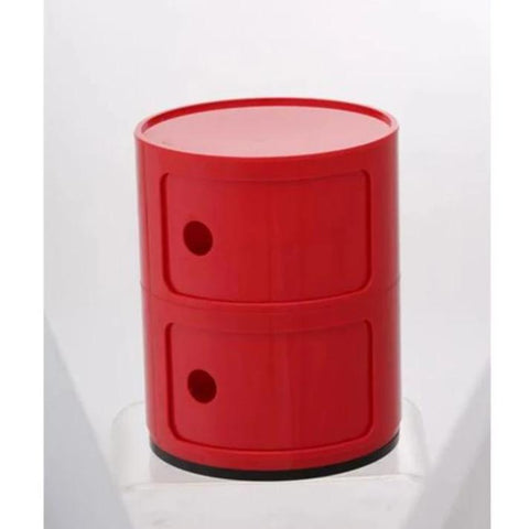 stylish modern red small round cabinet with 2 sliding doors