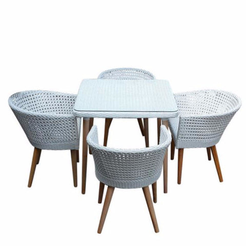 white balcony outdoor furniture with teak legs
