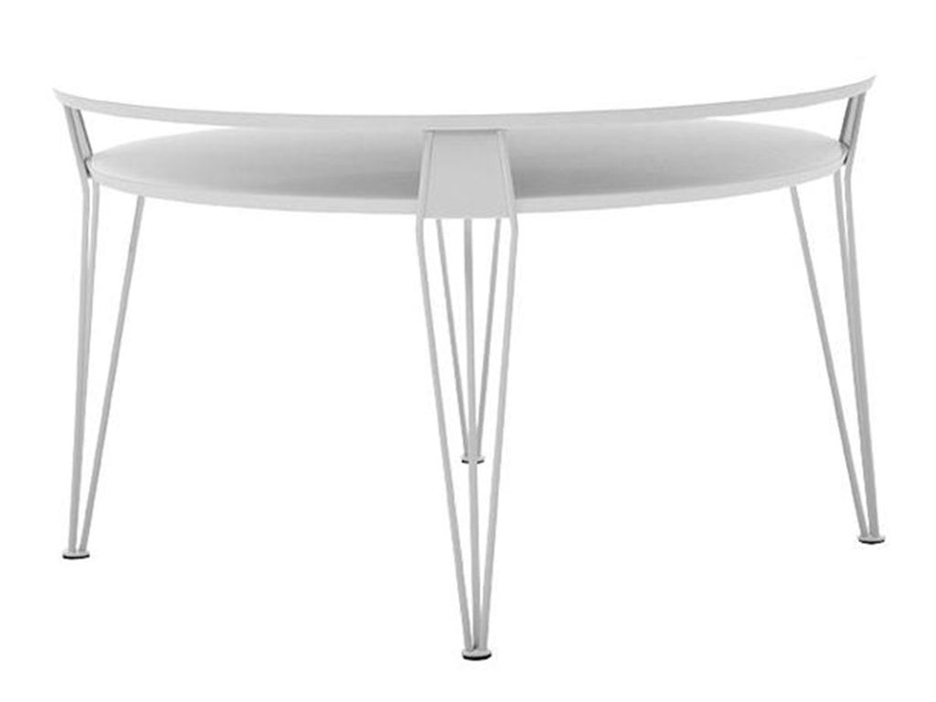 white round swedish designer coffee table with powder coated white steel legs