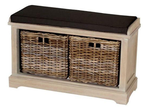 wooden storage bench with rattan basket drawers and seat cushion