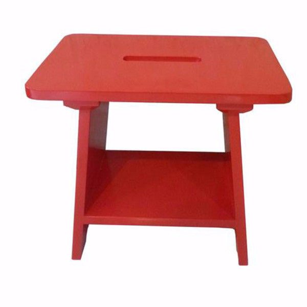 red wooden stool