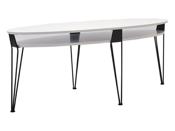 White scandinavian oval coffee table with hairpin black metal legs singapore