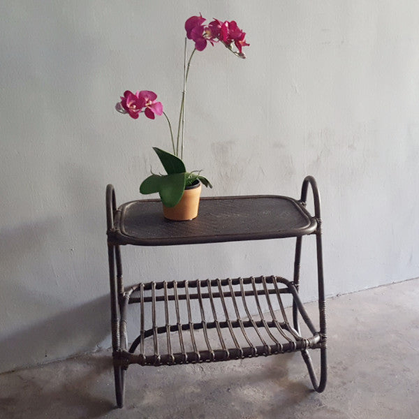 Padma Rattan side table, black washed
