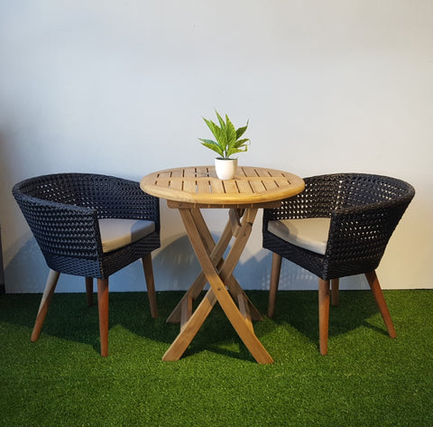 wicker chair with teak table set for outdoor balcony furniture singapore & Allegra Small Wicker Balcony Dining Set with teak legs - HEMMA ...