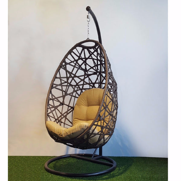 NEST Wicker Hanging Swing Chair with Stand, brown