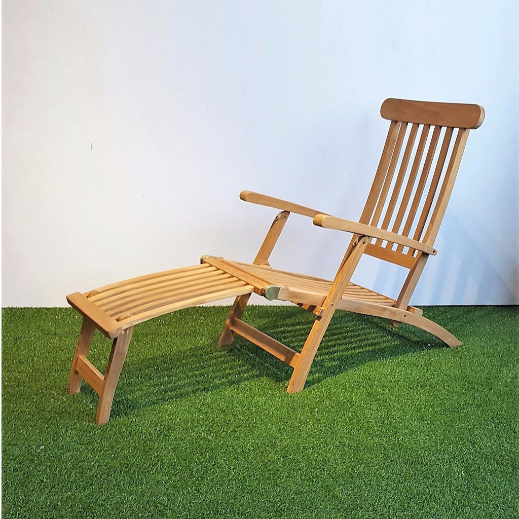 SAN DIEGO foldable teak steamer deck chair