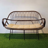 Lora 2 Seater Couch in Natural Rattan, Brown with Black wash