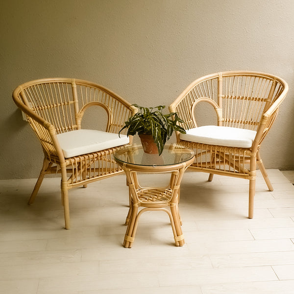 KELLY natural rattan 2 chairs and a table set