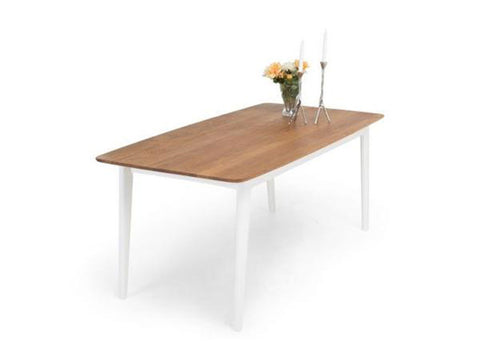 scandinavian oak top dining table with white legs