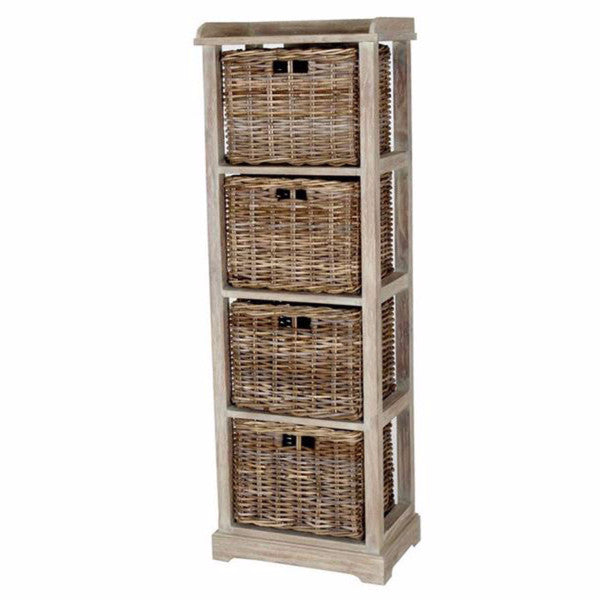 Cecilia Tall Storage Chest With 4 Rattan Drawers Hemma