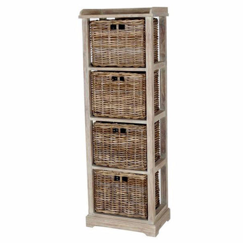 tall cabinet with rattan drawers