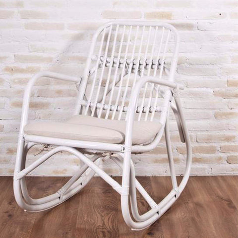 serena rattan rocking chair white painted with cushion