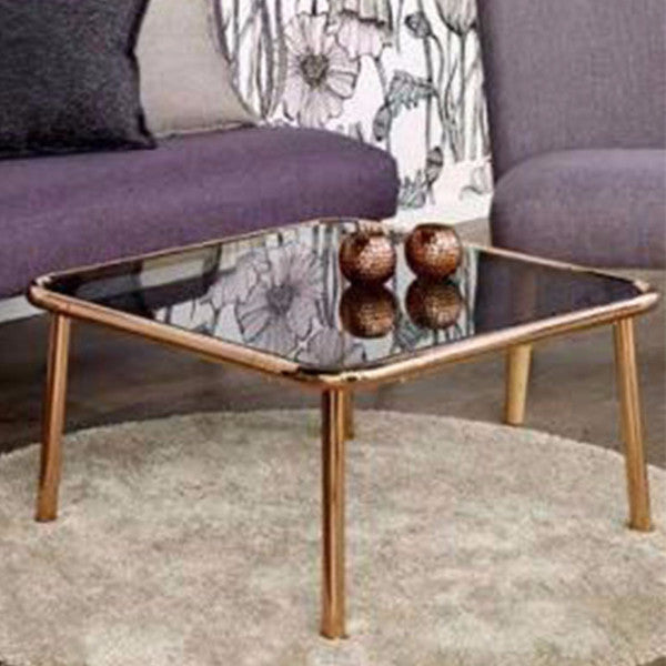 BASIC Copper and Glass Coffee Table 75x75